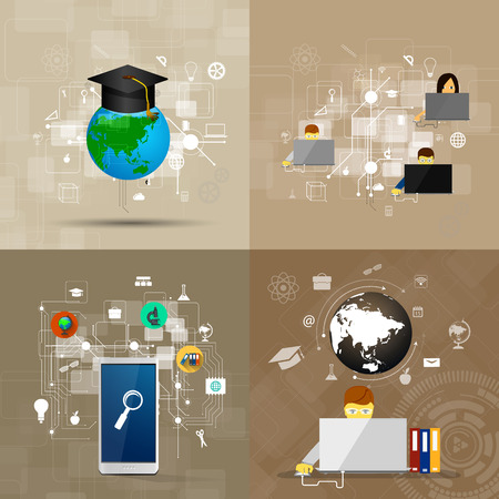 illustrated globe: education, online learning and tree of knowledge icons in flat style Illustration