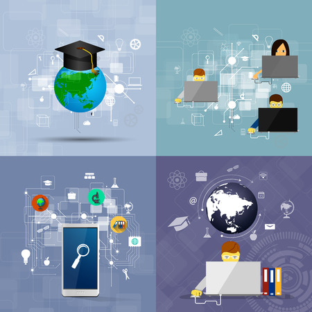 education, online learning and tree of knowledge icons in flat style Vector