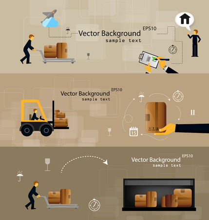 Vector illustration set of logistics safekeeping delivery shipping of flat icons