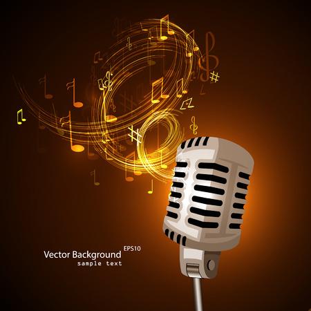 Vector illustratie van een oude microfoon en muzieknoten.
