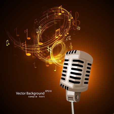 old poster: Vector illustration of an old microphone and musical notes.