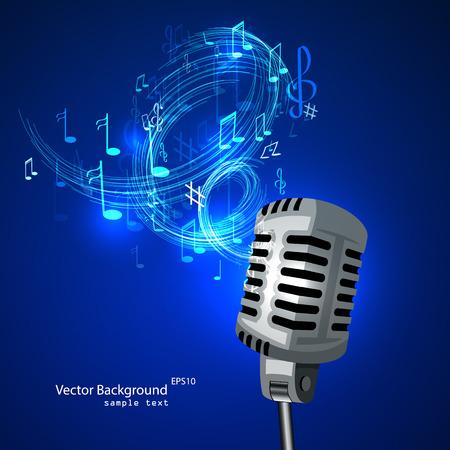 microfono antiguo: Ilustración vectorial de un viejo micrófono y notas musicales.