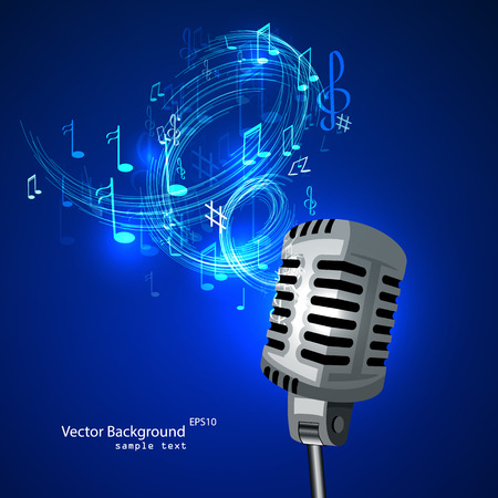 music poster: Vector illustration of an old microphone and musical notes.
