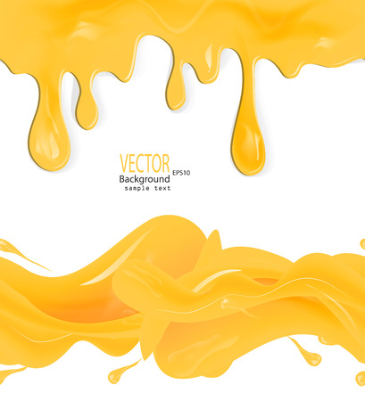 A set of vector honey drips seamless patterns and blots on white background Vector