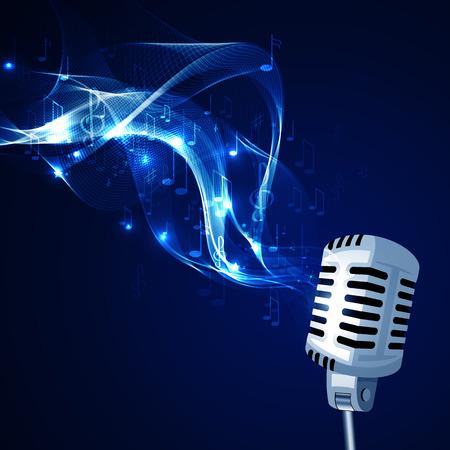 microfono de radio: Ilustración vectorial de un viejo micrófono y notas musicales.