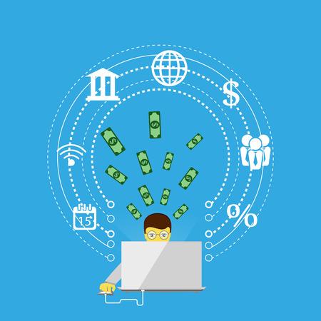 via: Vector illustration of mobile payment via the Internet, online banking, shopping, e-commerce.