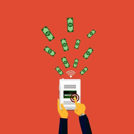 mobile internet: Vector illustration of mobile payment via the Internet, online banking, shopping, e-commerce.