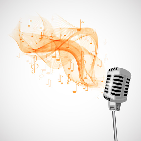 Vector illustration retro microphone and musical notes.