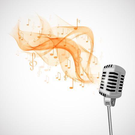 Vector ilustración micrófono retro y notas musicales. Foto de archivo - 41510106