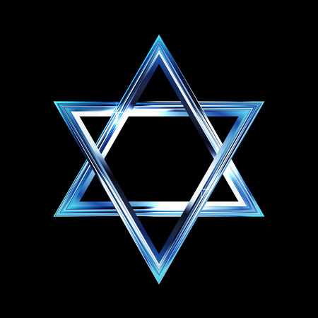 zion: Vector illustration of a bright star of David