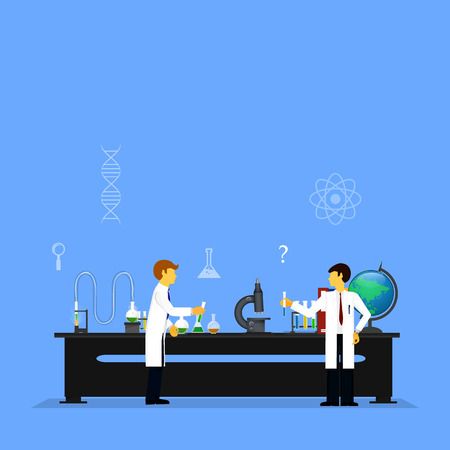 conducting: scientists in laboratories conducting research Illustration