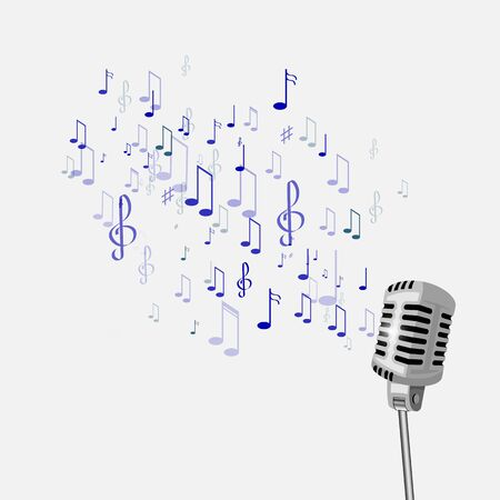 retro microphone: retro microphone and musical notes.