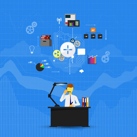command button: Business infographics template. Scheme with humans, icons and gears
