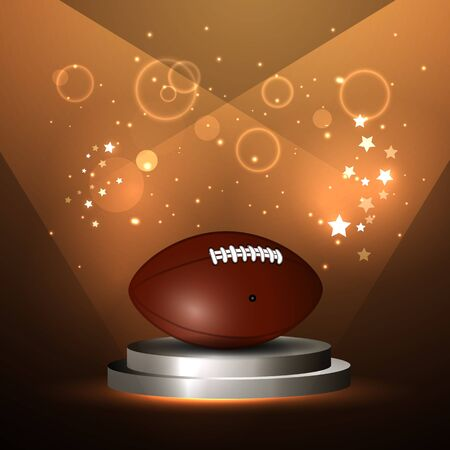 playoff: illustration of american football ball on stage championship