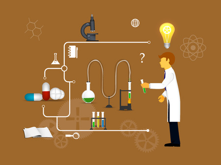 experimentation: Process Research in a chemical laboratory. The concept of science, medicine and research. Stock Photo