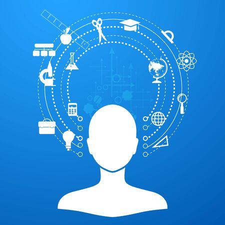 conocimiento: la educación, el aprendizaje en línea y el árbol de iconos de conocimiento en estilo plano Foto de archivo