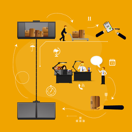 safekeeping: set of logistics safekeeping delivery shipping of flat icons Stock Photo