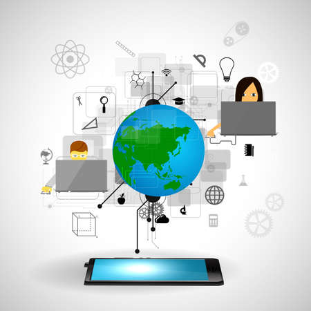 illustrated globe: education, online learning and tree of knowledge icons in flat style Stock Photo