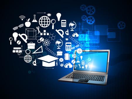 onderwijs, online leren en de boom van kennis iconen in vlakke stijl Stockfoto