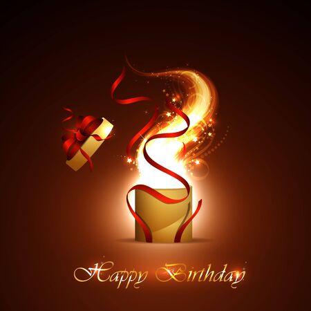 surprise box: illustration of happy birthday card, with sharikomi, ribbons, glitter Stock Photo