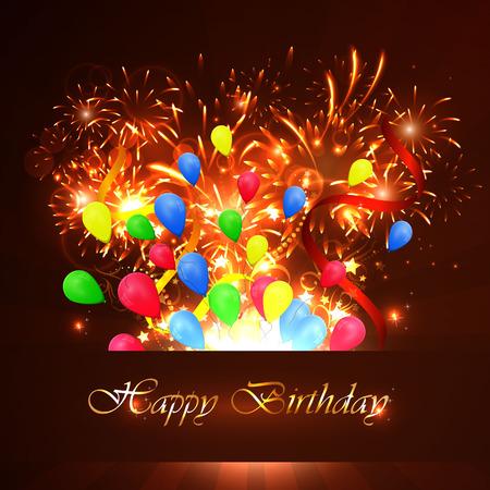 Ilustracja szczęśliwy kartka urodzinowa z sharikomi, wstążki, brokat