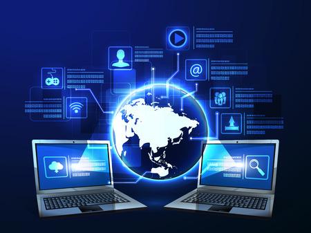 redes electricas: ilustración del concepto de la tecnología de Internet