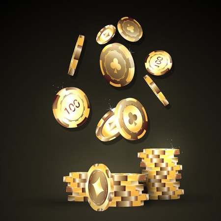 gambling chip: Gold chips, the concept of a casino.