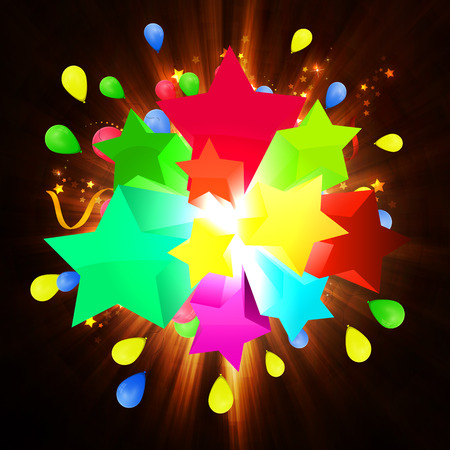 fireworks background: illustration of happy birthday card, with sharikomi, ribbons, glitter Stock Photo