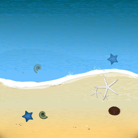 sand beach: illustration Summer Beach. Sand and Ocean. Blue Sky with Clouds. Summer Design for Beach Party Placard. Stock Photo