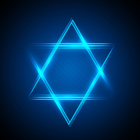 jews: illustration of Star of David from neon linear Stock Photo