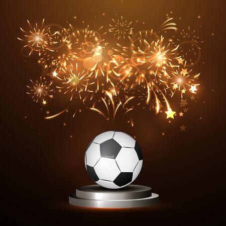 playoff: illustration of a soccer ball in the center, bright lines, championship victory