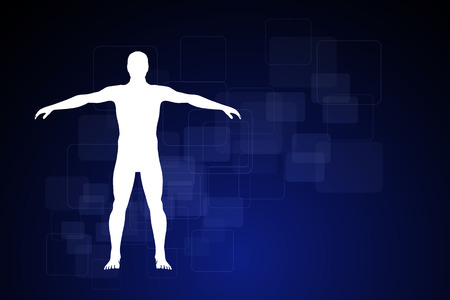 human intestine: medicine infographics. Schematic description of the human body Stock Photo