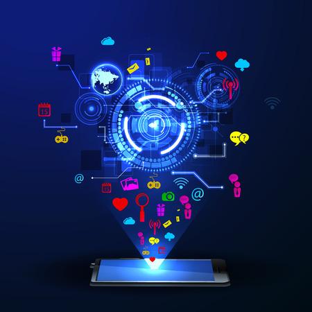 tecnolog�a informatica: El concepto de red social de fondo con la gente y los iconos.