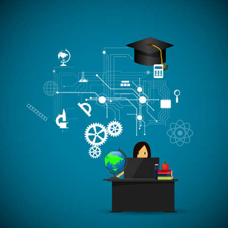 assimilation: education, online learning and tree of knowledge icons in flat style Stock Photo