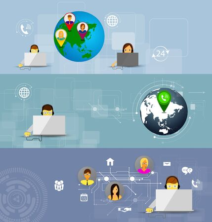 business center: Business customer care service concept flat icons