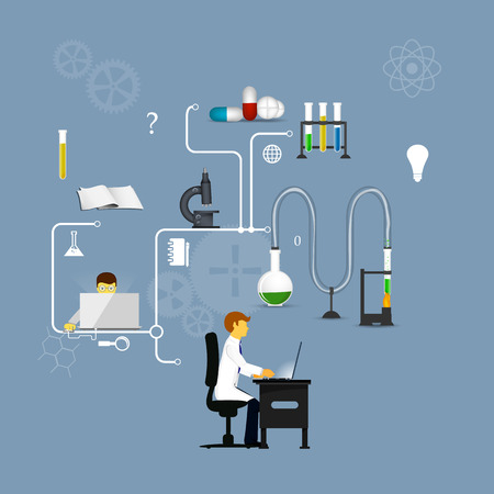a solution tube: Process Research in a chemical laboratory. The concept of science, medicine and research. Stock Photo