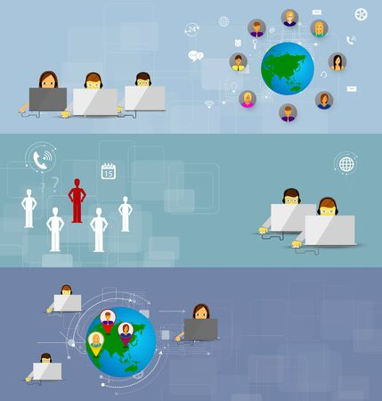 business support: Business customer care service concept flat icons