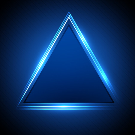 illustration of a neon triangle on dark background