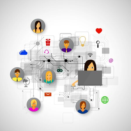 network concept: The concept of social network background with people and icons. Stock Photo