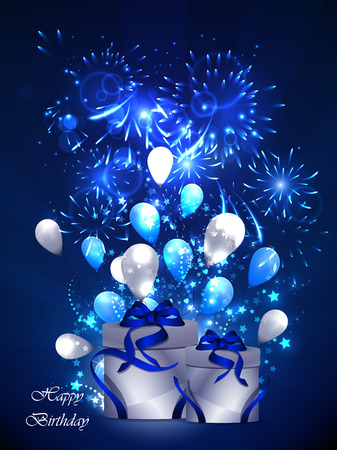 illustration of happy birthday card, with sharikomi, ribbons, glitter Standard-Bild