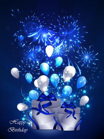 illustration of happy birthday card, with sharikomi, ribbons, glitter Stock Photo