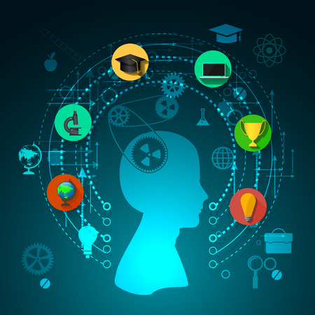 tree of knowledge: education, online learning and tree of knowledge icons in flat style Stock Photo