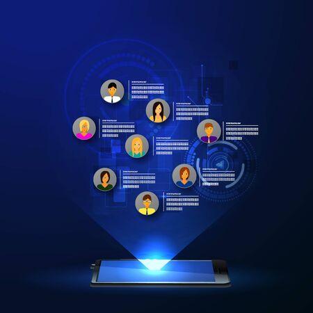 redes de mercadeo: El concepto de red social de fondo con la gente y los iconos.