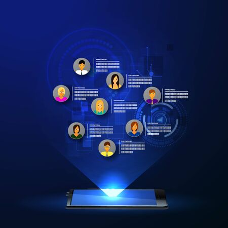 social web: The concept of social network background with people and icons. Stock Photo