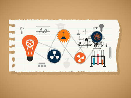 scholastic: education, online learning and tree of knowledge icons in flat style Stock Photo