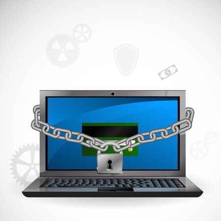 computer protection: illustration of the concept of protection against hacking. Stock Photo
