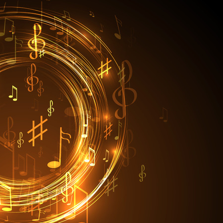 notes music: illustration with neon line  abstract  music background