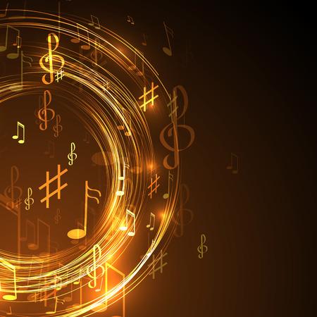 note musicali: illustrazione con la linea di neon di musica astratto
