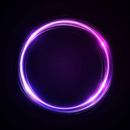 Abstract Background - neon Circle behind Dark Design