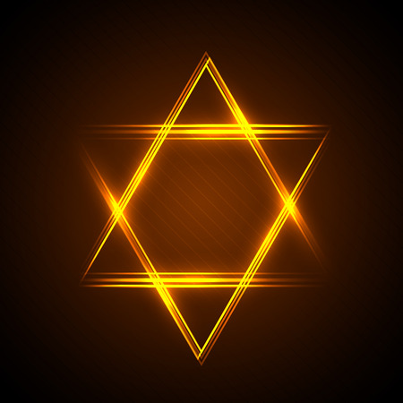 illustration of Star of David from neon linear Imagens